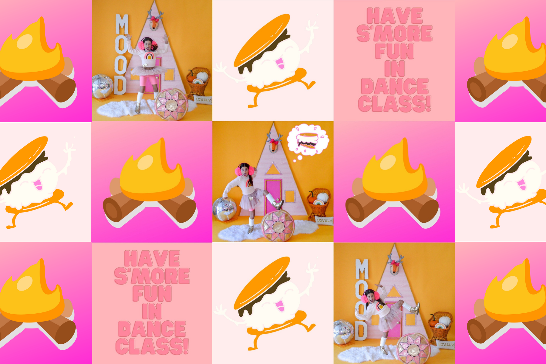 Collage of s'mores graphics and cute dancer posing in front of a paster A-frame backdrop